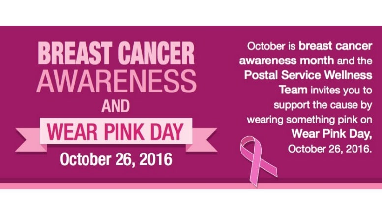 USPS invites employees to support Breast Cancer Awareness Month by wearing  pink Oct. 26. 9acddac5a