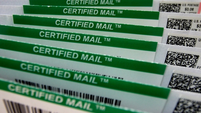 woman says she did not sign for certified mail found on doorstep