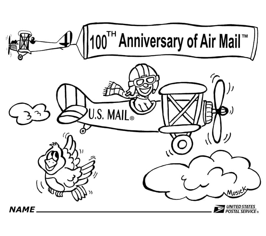 New USPS Coloring page to promote 100 years of Airmail – Postal Times