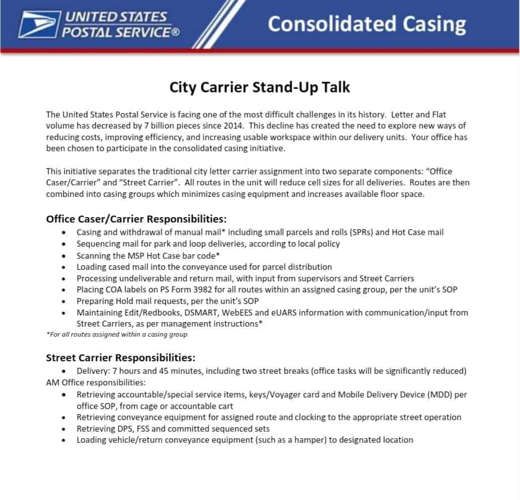 Consolidated Casing being tested for City Carriers – Postal