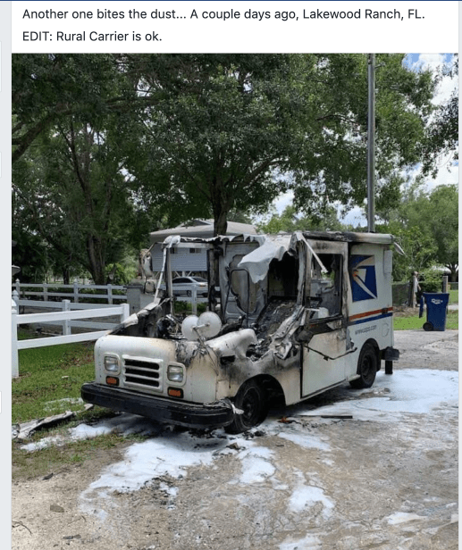 Mail Truck Fire – Lakewood Ranch, FL – Postal Times