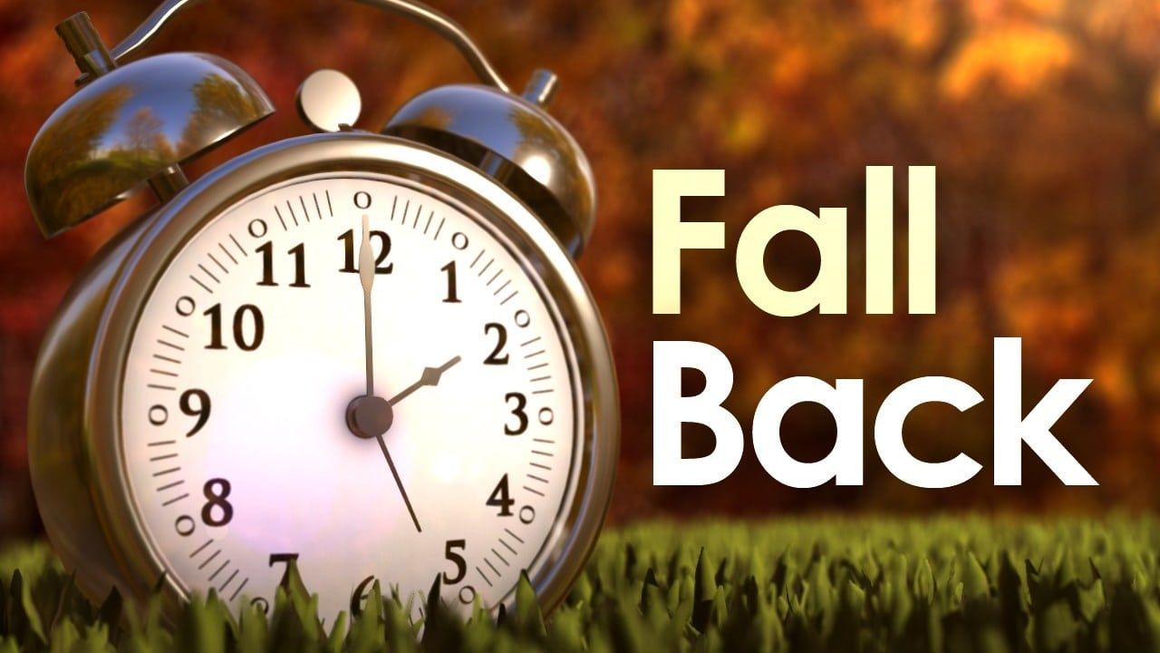 Fall back on Sunday, Nov. 1, at 2 a.m